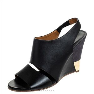 Chloe Black Leather Eliza Wedge Slingback Sandals